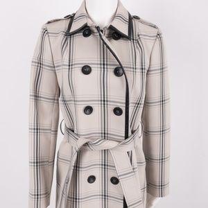 Isaac Mizrahi NY Trench Coat Jacket Plaid sz 4